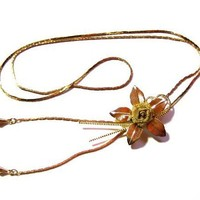 Mesh Flower Bolo Necklace, Gold Chain