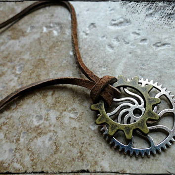 Mens Gears Explorer Mechanic Necklace Gears and Suede Leather Brass Silver