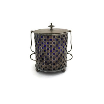 Biscuit Barrel, EPNS Biscuit Barrel, Silver Plated Basket, Silver Plated and Cobalt Glass