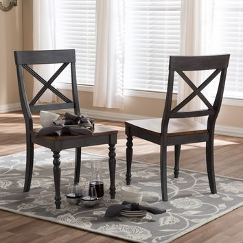 "Baxton Studio Rosalind Shabby Chic Country Cottage Weathered Dove Grey and ""Oak"" Brown Finishing Solid Wood X-back Dining Side Chair Set of 2"
