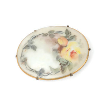 Victorian Porcelain Brooch Hand Painted Yellow Rose Florals Oval Gilt Trim Vintage