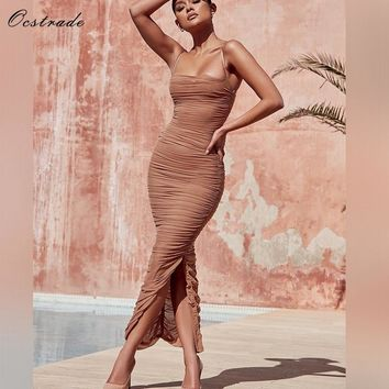 Ocstrade Summer 2018 New Arrival Sexy Party Long Bodycon Dresses for Women Spaghetti Straps Tan Ruched Organza Mesh Maxi Dress