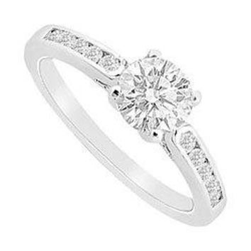 Semi Mount Engagement Ring in 14K White Gold with 0.25 Ct. Diamonds Center Diamond Not Included