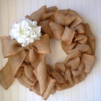 Burlap wreath with bow and white hydrangea. burlap wreath,burlap decor. fall wreath, fall decor. wedding decor.