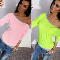One Shoulder Color Block Shirt