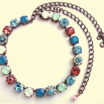 swarovski crystal choker, gypsy colors, swarovski necklace, turquoise and padparadscha, tennis necklace, bling, better than Sabika