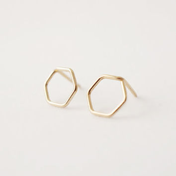 Tiny Hexagon Studs  14k Gold Filled Earrings by MadeByMaru on Etsy
