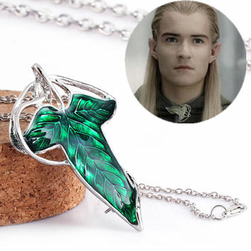 The Elf Princess Lord of the Ringgs Green Elven Leaf Pin Pendant Necklaces For Men Women Movie Jewelry