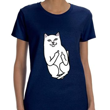 Women's T Shirt Middle Finger Cat Humor Tee Funny Shirt
