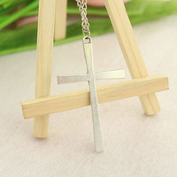 necklace--cross necklace,antique silver pendant,alloy chain