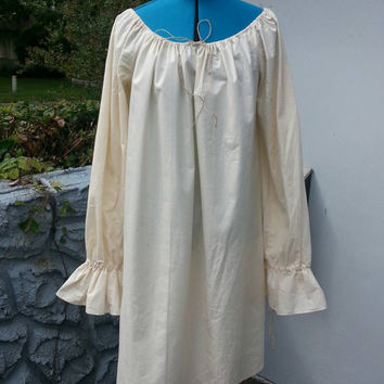 Cotton Gown- Chemise - Wench, Renaissance, Medieval, Pirate, Fantasy, Faire, LARP, SCA