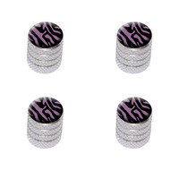 Zebra Print Black Purple Valve Stem Caps