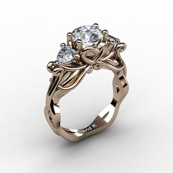 Nature Fairy 14K Rose Gold 1.0 Ct Round and Heart White Sapphire Three Stone Engagement Ring R1082-14KRGWS