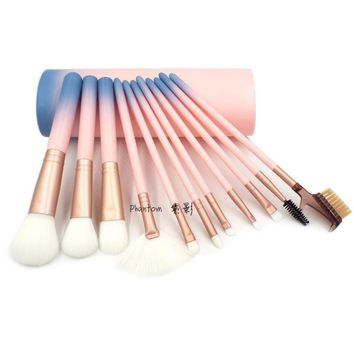 Professional 12pcs Makeup Brushes Set Powder Blush Contour Brush Cosmetic Beauty Tools Pink Gradient Color with Cylinder Case