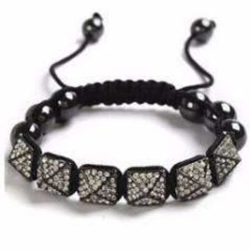 Pyramid Pavé Crystal and Black Magnetite Bead Shamballa Bracelet