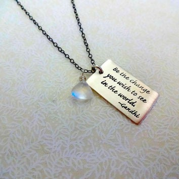 "Long Oxidized 925 Sterling Silver Chain Moonstone and Gandhi Quote ""Be the Change You Wish to see in the World"" Necklace - Personalized"