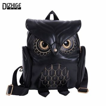 PU Leather Fashion Cute Owl Backpack Cartoon School Bags For Women / Teenagers Girls