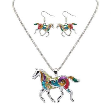 Rainbow Horse Necklace and Earrings Set