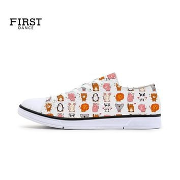FIRST DANCE Fashion Cute Animals Printed White Canvas Shoes For Women Girls School Low Top Women's Vulcanize Lace Up White Shoes