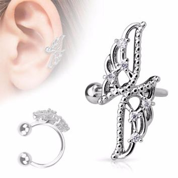 Crossed Wings with CZs Non-Piercing WildKlass Ear Cuff (Sold by Piece)