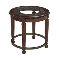 Ashley Leahlyn Round End Table in Reddish Brown - Walmart.com