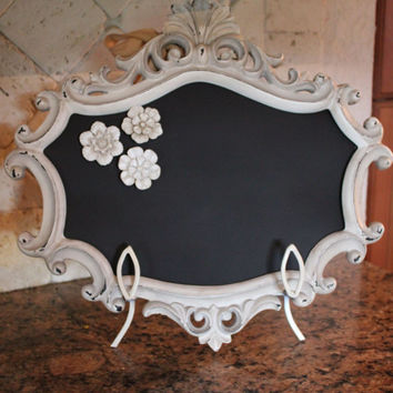 Chalkboard MAGNETIC Ornate Frame  Wedding Sign  - Vintage Decor French Baroque Inspired Message Board Country Chic Decor Gift 3 Rosettes