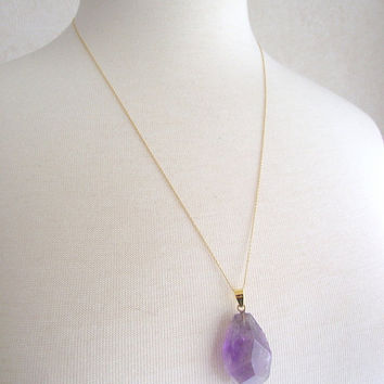 Gold Amethyst Necklace, Amethyst Nugget Pendant, 14kt Gold Necklace, 24 inch Gold Chain, Amethyst Pendant