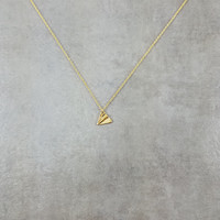 Paper Airplane Gold Necklace