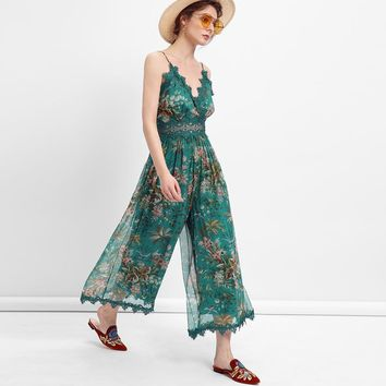 2018 Green Floral Print chiffon Women Playsuits sexy backless sleeveless deep v-neck lace Summer romper Elegant  chic  playsuits