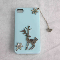 Silver Christmas deer and nightingale in snow & bird pendant protective phone case for iPhone 5 4 4s personalized mobil accessary gift idea