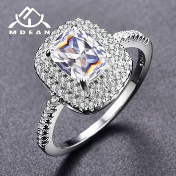 MDEAN White Gold Color Round Rings for Women Engagement Wedding Clear AAA Zircon Jewelry Bague Bijoux Size 6 7 8 9 H515