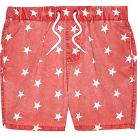 River Island Mini boys red star print swim trunks