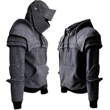 Medieval Warrior Armor Knight Mask and Sweatshirt Halloween Costume