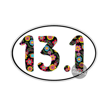 Floral 13.1 Half Marathon Sticker Runner Marathon Car Decal Oval Vinyl Window Bumper Sticker Run Colorful Cute Flower Pattern Laptop Decal