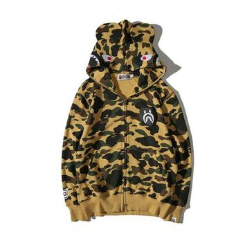 DCCK8H2 BAPE SHARK camouflage Zipper Hooded pullover Sweater