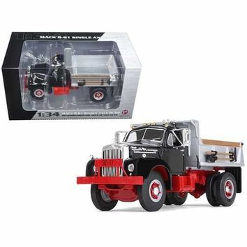 Mack B-61 Single-Axle Dump Truck Black and Silver 1/34 Diecast Model Car by First Gear