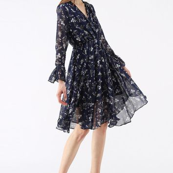Flowing Blossom Wrapped Asymmetric Chiffon Dress in Navy