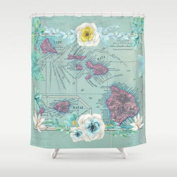 Floral Hawaii Map Shower Curtain -  tropical island travel Home Decor - soft teal, pink, Bathroom - travel, Islands, coastal Hawaiian pastel