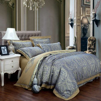 New Fashion Home textile satin the Wedding Jacquard 100%luxurious bedding set Embroidered Pillowcase Duvet cover bed sheets Gold