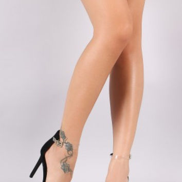 Shoe Republic LA Nubuck Lucite Ankle Strap Stiletto Heel