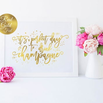 Wedding Signs, Champagne Wedding Print, Wedding Decoration, Real Gold Foil Print, Wedding Print, Wedding Wall Decor,Gold Foil Sign Wedding