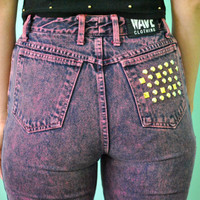 Vintage 80s 90s High Waist Jeans Pink Purple Acid Wash Stonewash Denim Studded Cropped Ankle Skinny Punk Pastel Grunge Pants / Size XS-S