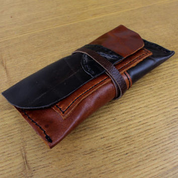 Leather tobacco pouch Handmade patchwork bag