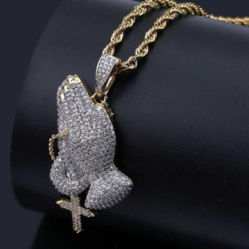 Iced Out Praying Hands Chain