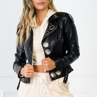 Copper Faux Leather Jacket