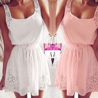 Hot 2015 Sexy Summer Women Casual Dress Sleeveless Soft Slim Wedding Short Evening Beach Party Mini Club Dresses White/Pink Z1