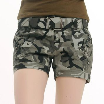 Shorts Women Military Camouflage Print Summer Style Rivet Sport Trousers S~4XL