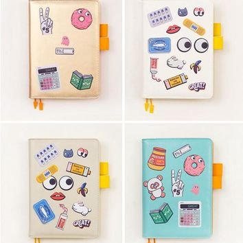 2017 PU leather journal with DIY stickers diary/daily planner/agenda organizer 207 pages funny Japan fashion stationery A6 A5