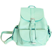 ROMWE | Magnetic Button Multi-pockets Mint Green Backbag(Halloween sale on Oct.26th), The Latest Street Fashion