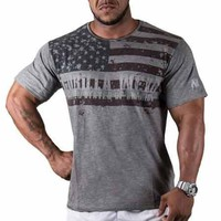 Gorilla Wear USA Flag Tee Gray